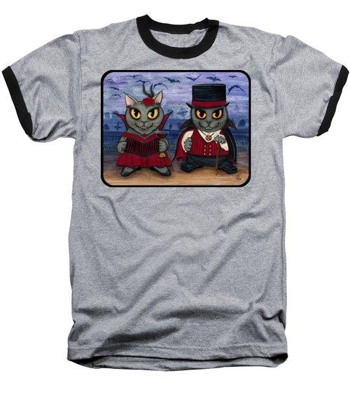 Vampire Cat Couple Baseball T-Shirt