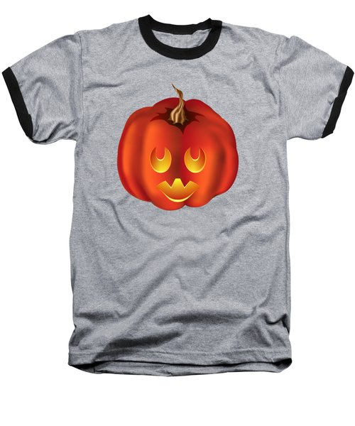 Vampire Halloween Pumpkin Baseball T-Shirt by MM Anderson