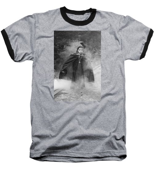 Baseball T-Shirt featuring the photograph Vampire In The Fog by Barbara West