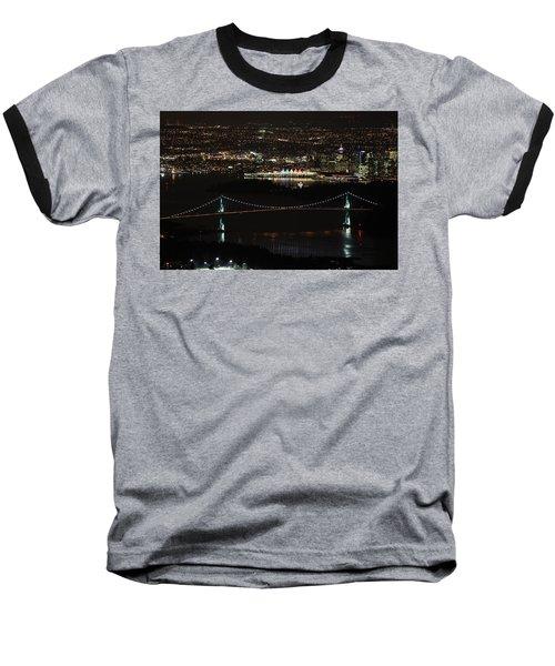 Vancouver At Night Baseball T-Shirt