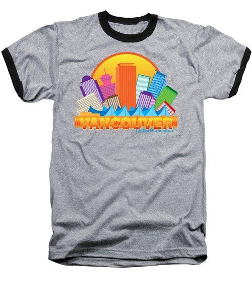 Vancouver Bc Canada Skyline Circle Color Illustration Baseball T-Shirt by Jit Lim