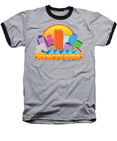 Vancouver Bc Canada Skyline Circle Color Illustration Baseball T-Shirt