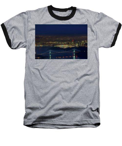 Vancouver Bc Cityscape By Lions Gate Bridge Baseball T-Shirt