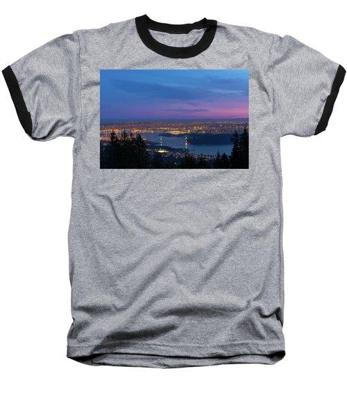 Vancouver Bc Cityscape Lions Gate Bridge Sunset Baseball T-Shirt