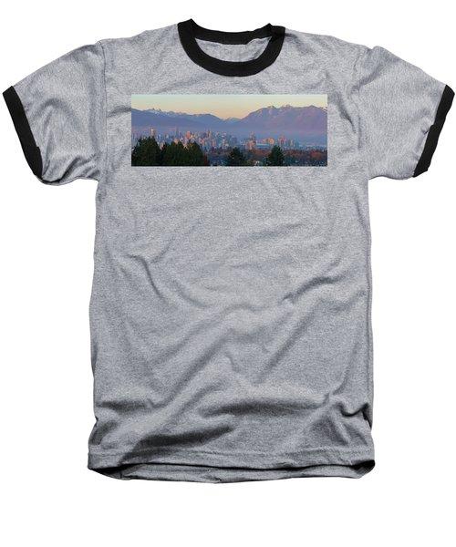 Vancouver Bc Downtown Cityscape At Sunset Panorama Baseball T-Shirt