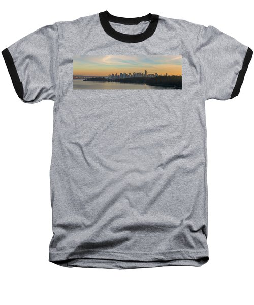 Vancouver Bc Skyline Along Stanley Park At Sunset Baseball T-Shirt