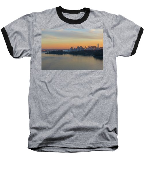 Vancouver Bc Skyline And Stanley Park At Sunset Baseball T-Shirt