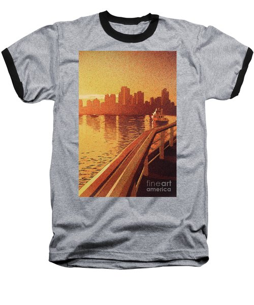 Baseball T-Shirt featuring the painting Vancouver Morning- Bc by Ryan Fox