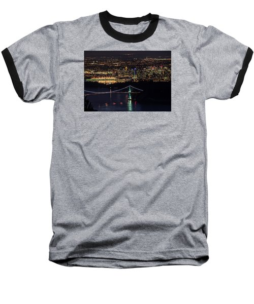 Vancouver Night From Cypress Mountain Baseball T-Shirt