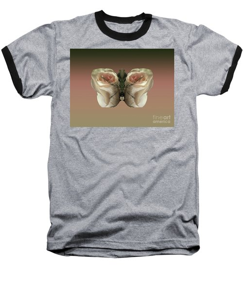 Vanilla Butterfly Rose Baseball T-Shirt
