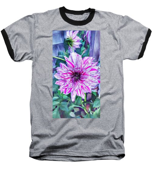 Variegated Dahlia In Oil Baseball T-Shirt