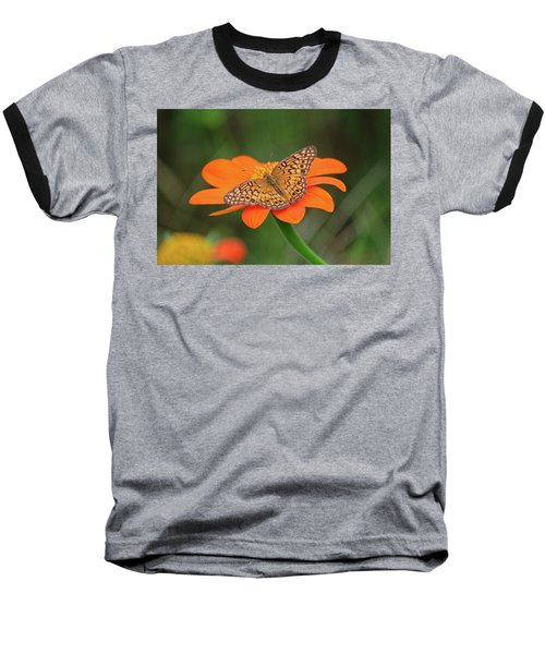 Variegated Fritillary On Flower Baseball T-Shirt