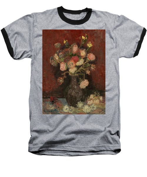 Vase With Chinese Asters And Gladioli Baseball T-Shirt