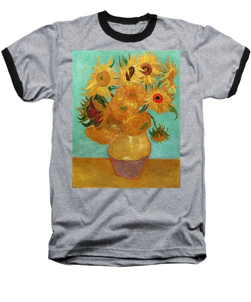 Baseball T-Shirt featuring the painting Vase With Twelve Sunflowers by Van Gogh