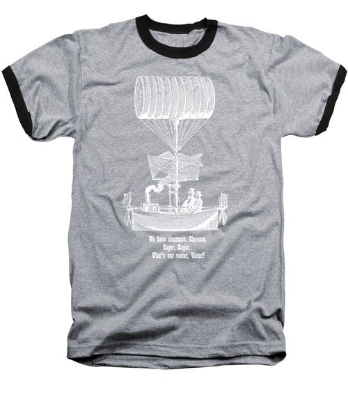 Vector Victor Vintage Airship White Transparent Baseball T-Shirt