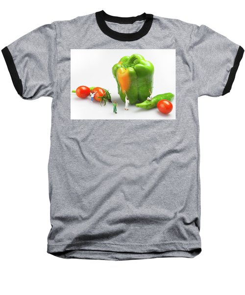 Baseball T-Shirt featuring the painting Vegetable Painting Little People On Food by Paul Ge