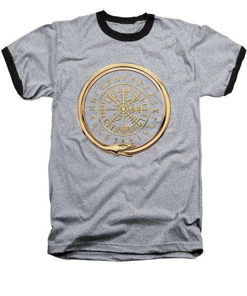 Vegvisir - A Magic Icelandic Viking Runic Compass - Gold On Black Baseball T-Shirt