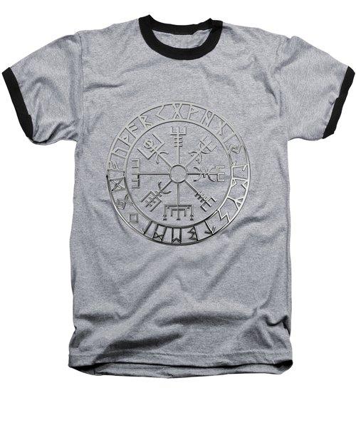 Vegvisir - A Magic Icelandic Viking Runic Compass - Silver On Black Baseball T-Shirt