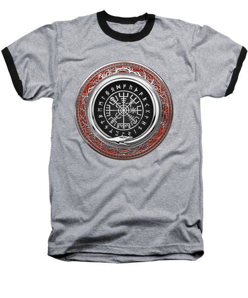 Vegvisir - A Silver Magic Viking Runic Compass On Red Leather  Baseball T-Shirt