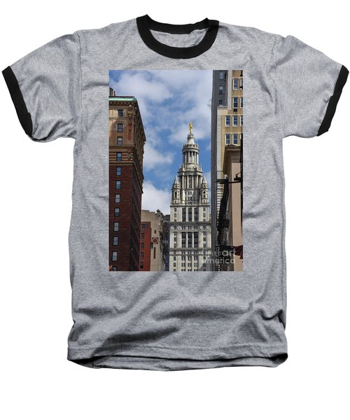 Baseball T-Shirt featuring the photograph Veiw Of City Hall by Judy Wolinsky