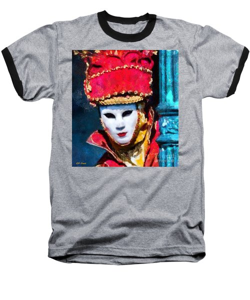 Baseball T-Shirt featuring the painting Venetian Mask by Elizabeth Coats