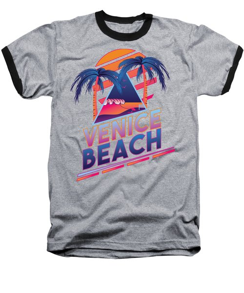 Venice Beach 80's Style Baseball T-Shirt by Alek Cummings