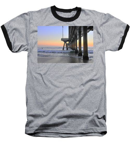 Venice Beach Pier Sunset Baseball T-Shirt