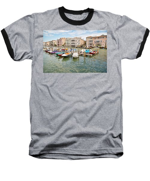 Baseball T-Shirt featuring the photograph Venice Boats by Sharon Jones