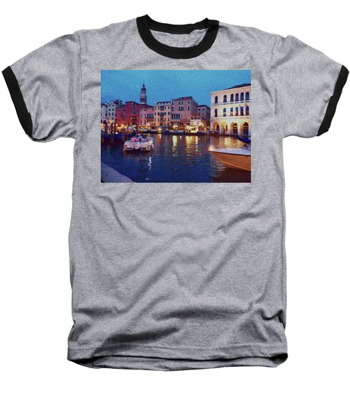 Baseball T-Shirt featuring the photograph Venice By Night by Anne Kotan