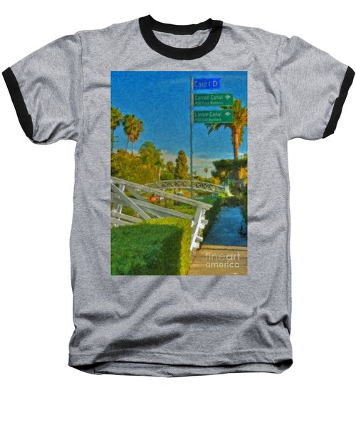 Baseball T-Shirt featuring the photograph Venice Canal Bridge Signs by David Zanzinger