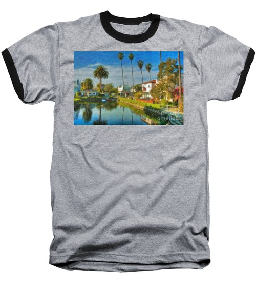 Baseball T-Shirt featuring the photograph Venice Canal Houses Watercolor  by David Zanzinger