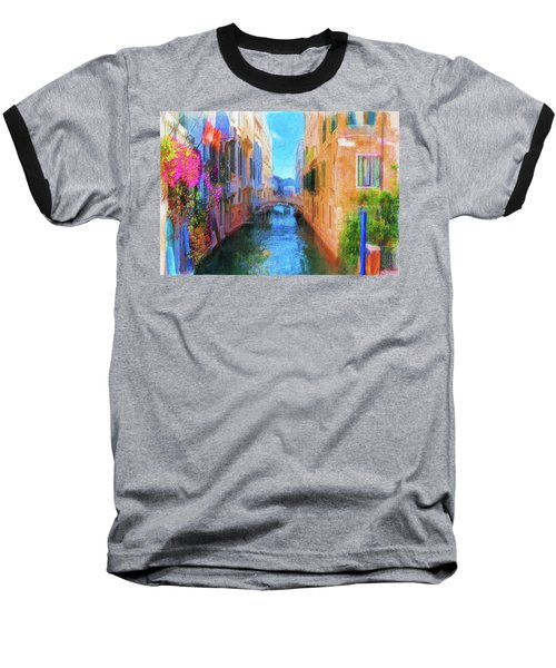 Venice Canal Painting Baseball T-Shirt by Michael Cleere