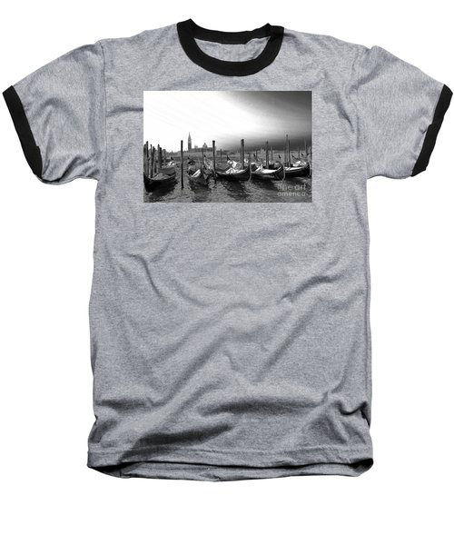 Baseball T-Shirt featuring the photograph Venice Gondolas Black And White by Rebecca Margraf