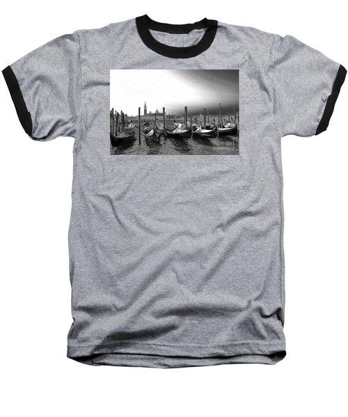 Venice Gondolas Black And White Baseball T-Shirt by Rebecca Margraf