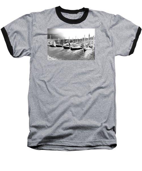 Venice Gondolas Silver Baseball T-Shirt by Rebecca Margraf
