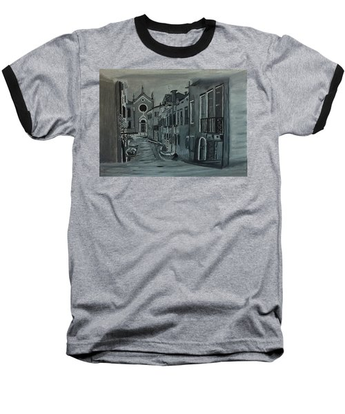 Baseball T-Shirt featuring the painting Venice In Grey And White by Rod Jellison