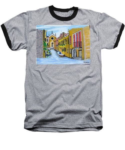 Baseball T-Shirt featuring the painting Venice In September by Rod Jellison