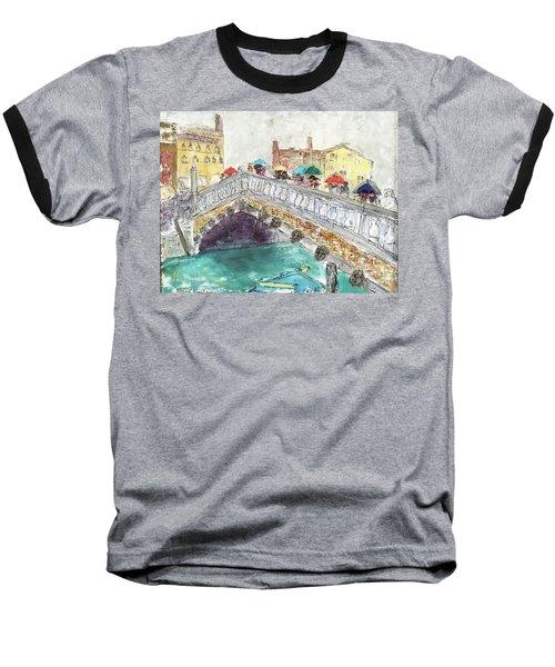 Baseball T-Shirt featuring the painting Venice In The Rain by Barbara Anna Knauf
