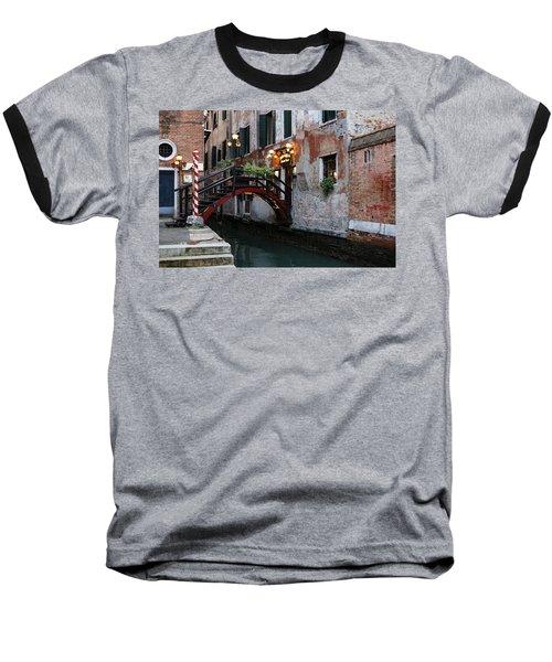 Venice Italy - The Cheerful Christmassy Restaurant Entrance Bridge Baseball T-Shirt