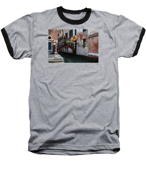 Venice Italy - The Cheerful Christmassy Restaurant Entrance Bridge Baseball T-Shirt