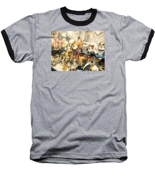 Venice Masks Baseball T-Shirt by Lisa Boyd