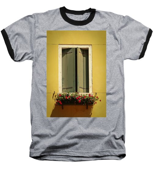 Baseball T-Shirt featuring the photograph Venice Window In Green by Kathleen Scanlan