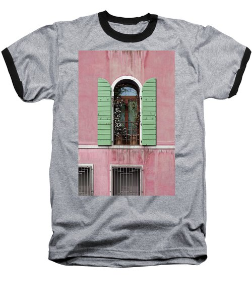 Venice Window In Pink And Green Baseball T-Shirt by Brooke T Ryan