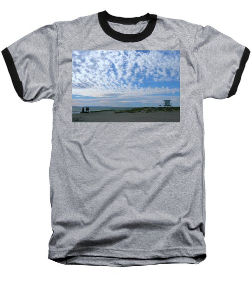 Ventura Beach With Blue Sky And  Puffy Clouds Baseball T-Shirt