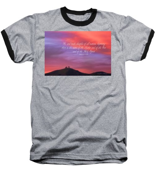 Ventura Ca Two Trees At Sunset With Bible Verse Baseball T-Shirt by John A Rodriguez