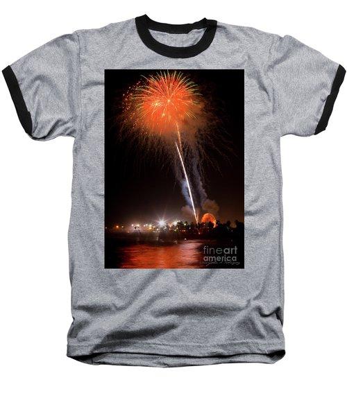 Baseball T-Shirt featuring the photograph Ventura California Fair Fireworks by John A Rodriguez