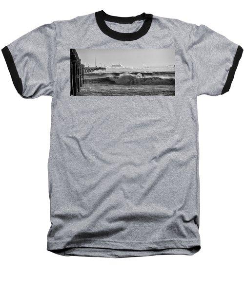 Baseball T-Shirt featuring the photograph Ventura Pier El Nino 2016 by John A Rodriguez