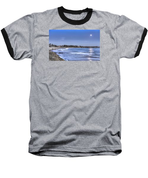 Ventura Pier Moonrise Baseball T-Shirt by Joe  Palermo