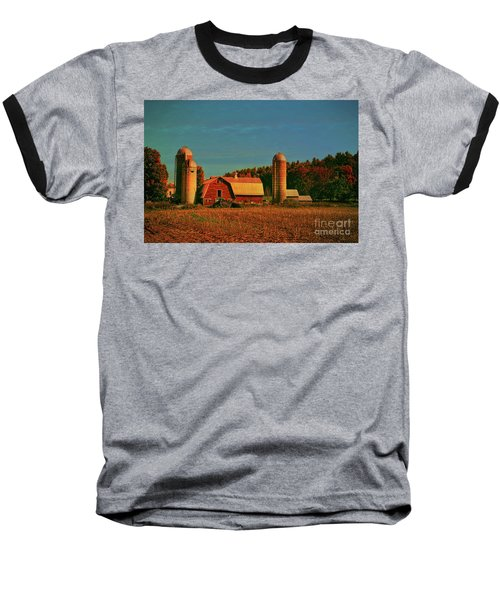Baseball T-Shirt featuring the photograph Vermont Autumn Barn by Deborah Benoit
