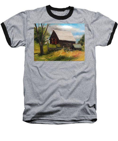 Vermont Barn Baseball T-Shirt by Nancy Griswold